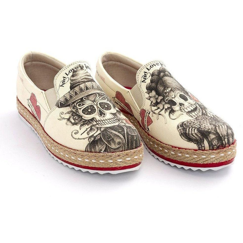 Women Shoes - Beige Sugar Skull Slip-On Espadrille
