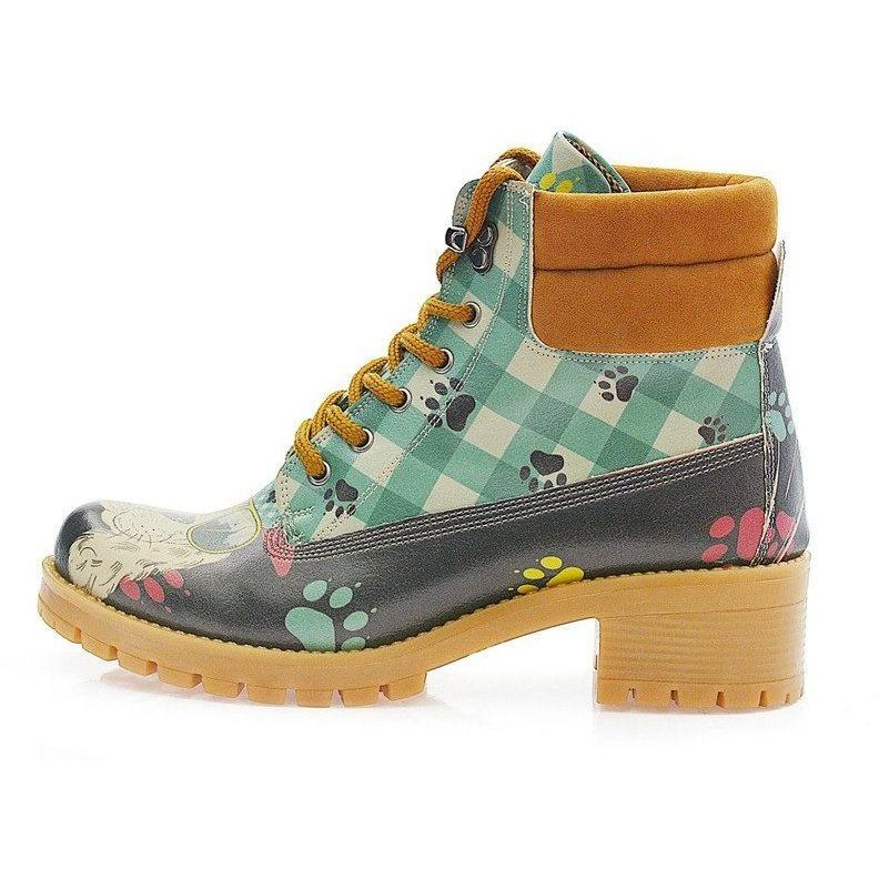 Women Shoes - Blue Plaid Puppy Padded Combat Boot