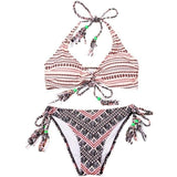 Women Swimsuits - Black & Red Aztec Pattern Handmade Crochet Bikini With Laces
