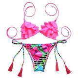 Women Swimsuits - Pinkish Flower Summer High Class Tassel Bathing Suit