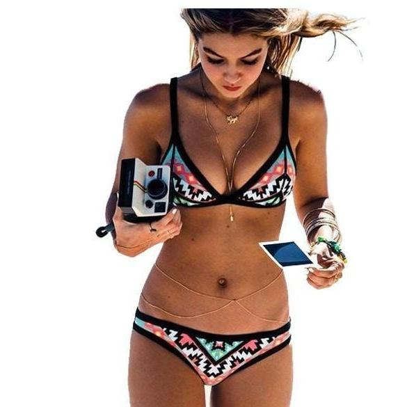 Women Swimsuits - Retro Style Print Swimsuit