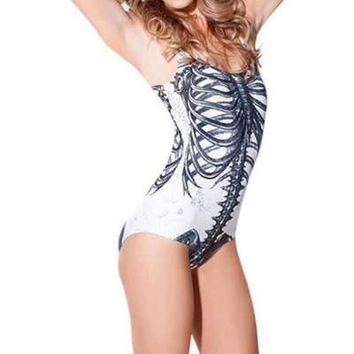 Women Swimsuits - Ribcage Print Swimsuit One Piece