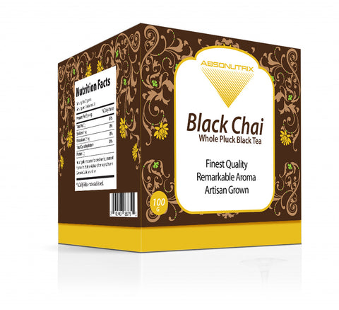 Absonutrix Black Chai Whole Artisan full Pluck Black Tea 100mg  Remarkable Aroma helps relax