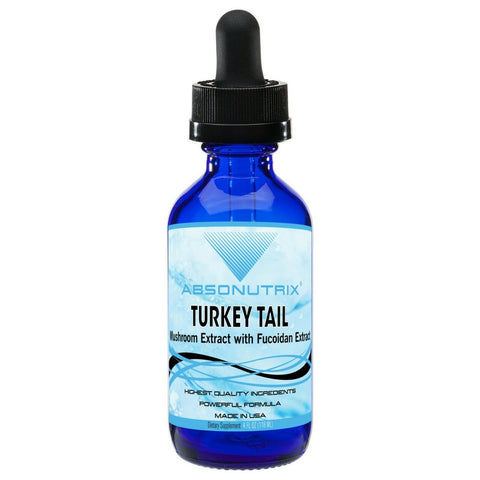 Absonutrix Turkey Tail Mushroom with Fucoidan Extract 590 mg antioxidant Immune booster 4 Fl Oz Made in USA