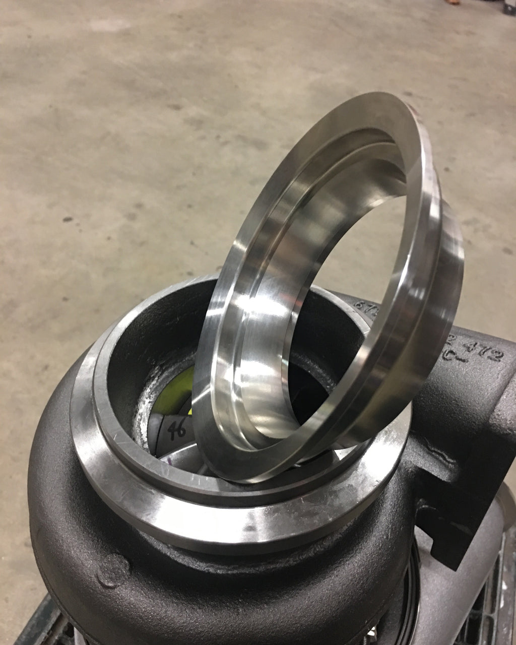 "S475 S480 T6 Downpipe Flange Stainless stepped 5"" to 4"""