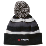 Amped Striped Beanie with Pom