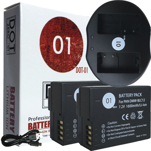 2x DOT-01 Batteries + USB Ch for Leica V-LUX4 Batteries + USB Charger