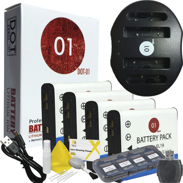 4x DOT-01 Nikon EN-EL19 Batteries + USB Charger for Nikon S3100