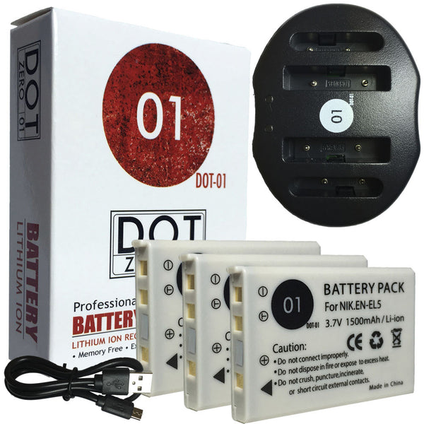 3x DOT-01 Nikon EN-EL5 Batteries and USB Charger for Nikon P3 Camera