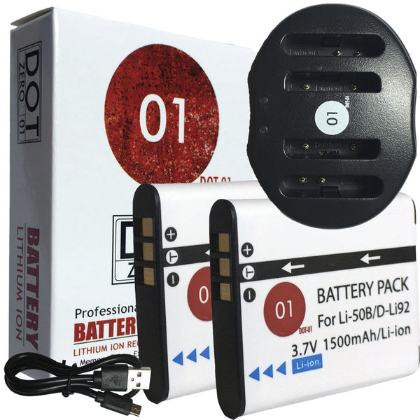 2x DOT-01 Batteries + USB Ch for Olympus Tough 8010 Batteries for 8010