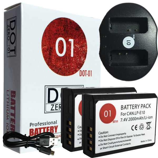 2x DOT-01 Batteries + USB Charger for Canon LPE10 Batteries for LP-E10