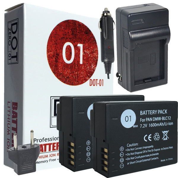 2x DOT-01 Batteries + Charger Leica VLUX (TYP 114) Batteries + Charger