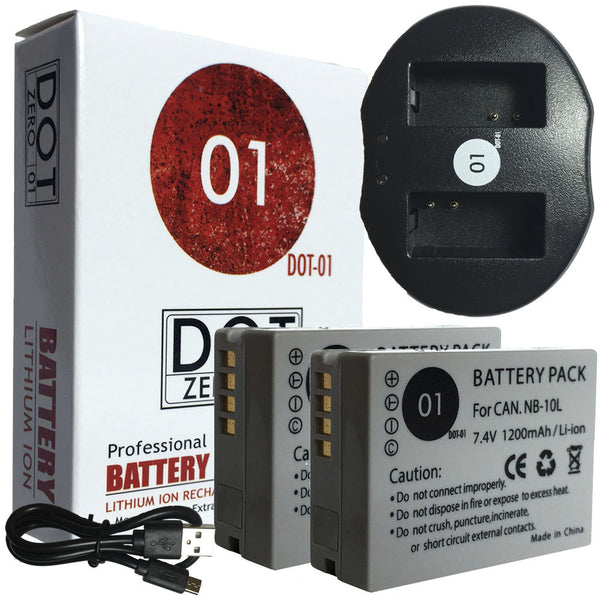 2x DOT-01 Batteries + USB Ch for Canon PowerShot G3 Batteries for G3