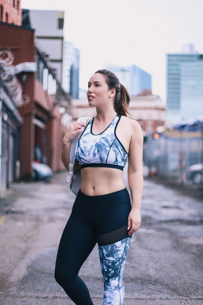 to vogue or bust activewear athleisure made in canada made in vancouver best leggings equinox high end no pill printed legging canada canadian design tie dye