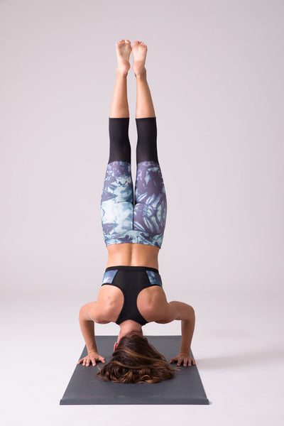 yoga apparel clothing capri sports bra pattern print mesh handstand legging quality made in canada