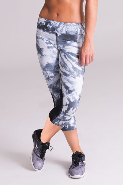 black and white legging capri midi 7/8 pant grey glacier marble pattern printed mid rise wide waistband power mesh yoga usa canada brand active collective