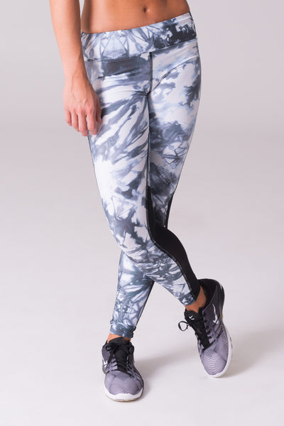 black and white legging grey glacier marble pattern printed mid rise wide waistband power mesh yoga usa canada brand active collective