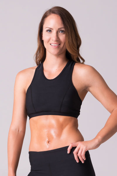 black sports bra high neck racerback lululemon fitness cycle yoga modest run womens apparel clothing