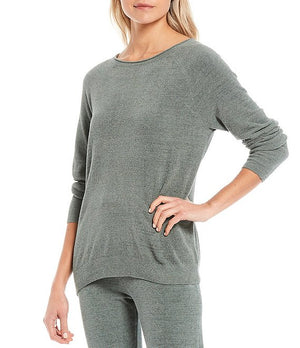 Barefoot Dreams CozyChic Ultra Lite Rolled Neck Lounge Pullover Top Agave