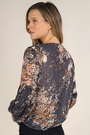 Holiday Floral Tie Front Top