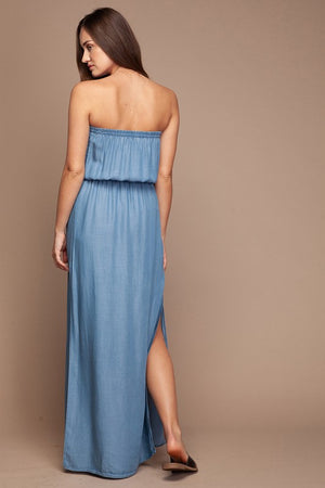 Strapless Denim Maxi Dress