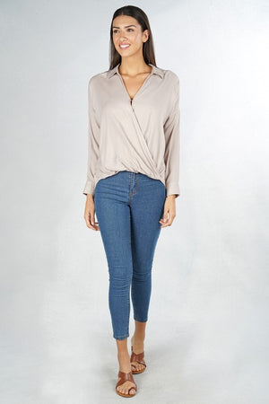 Solid L/S Surplice Top