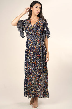 Ruffle Sleeve Winter Maxi Dress