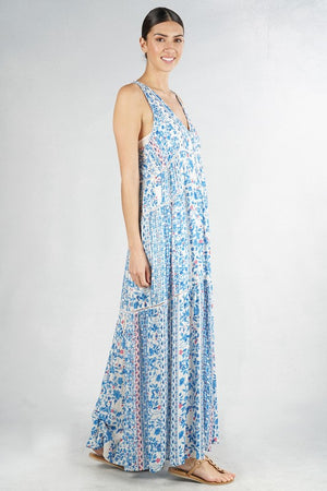 Sleeveless Tiered Floral Maxi