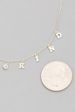 Sterling Silver 'Be Kind' Necklace