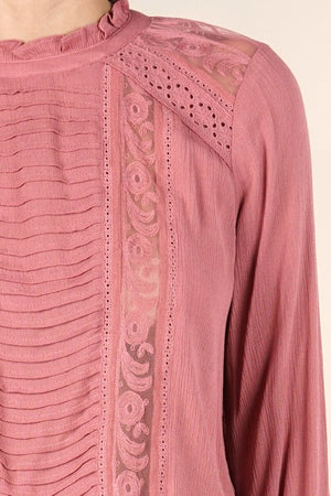 Pintuck Lace Detail Blouse