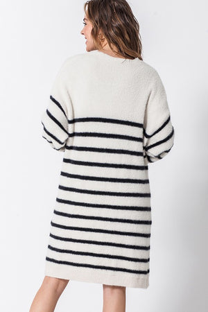 Striped Open Front Cardi
