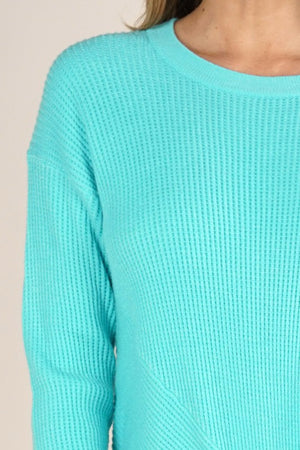 Waffle Pullover in Sea Breeze