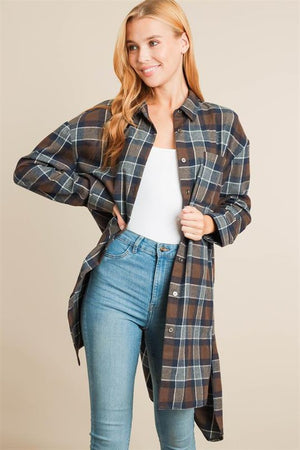 High Low Plaid Jacket