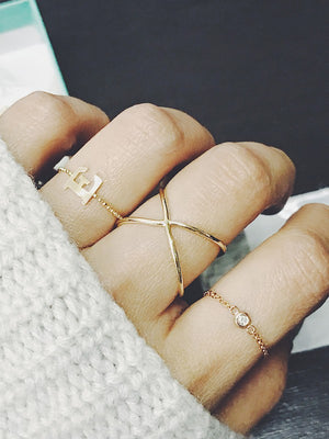 Solid Gold Ball Chain Initial Ring
