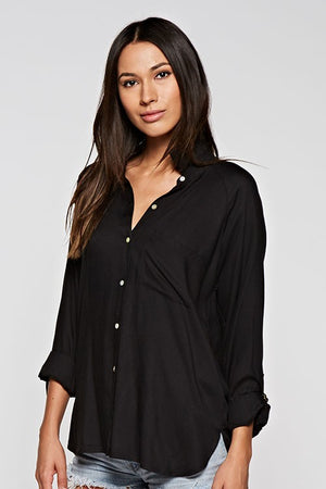 The Meghan Markle Boyfriend Blouse in Black