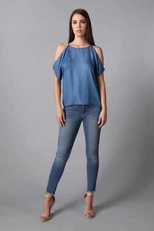Scalloped Tencel Cold Shoulder Top