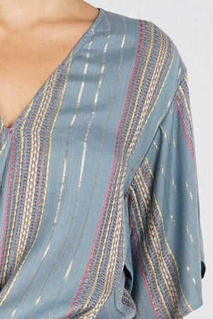 Gold Detail Tie Front Blouse