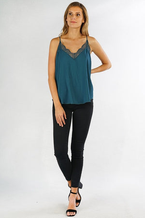 Gorgeous Teal Lace Trim Tank (5th SELLOUT)