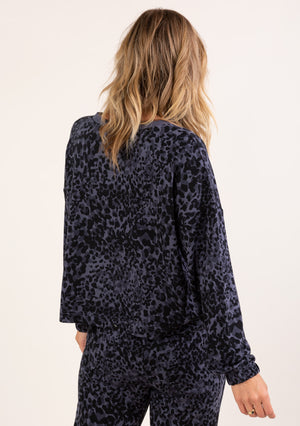 Animal Print Lounge Sweater Dark