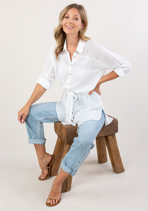 Missy Sheer Button Up Tunic White