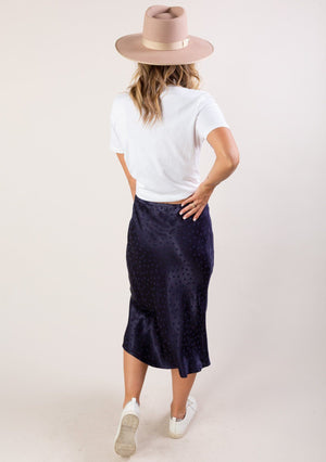 Dot Jacquard Midi Skirt Navy