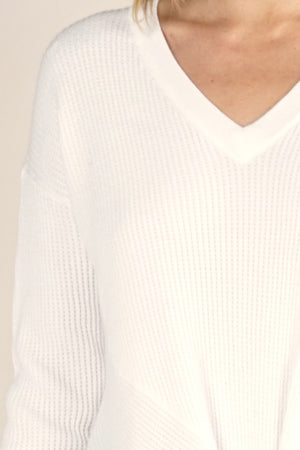 V-Neck Thermal Waffle Sweater White