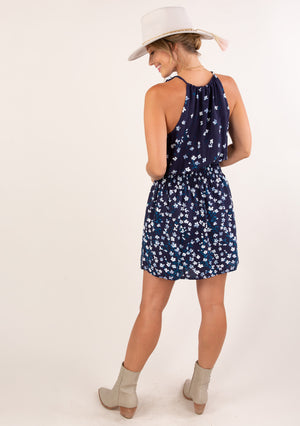 Keyhole Summer Sun Dress Navy