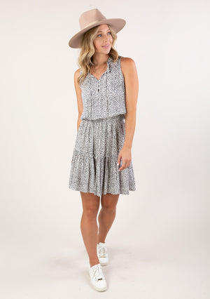 Milly Printed Dress Charcoal