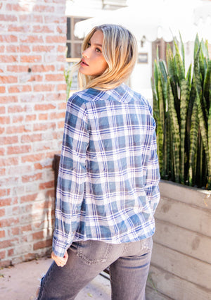 Blue Print Distressed Plaid Shirt