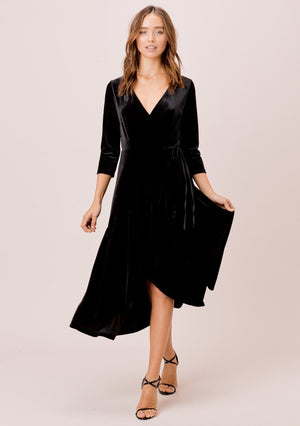 Velvet Wrap Holiday Dress.