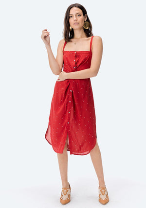 Allison Red Twisted Front Dress