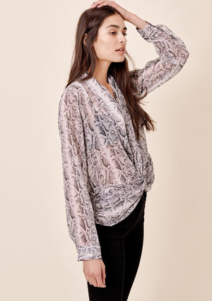 Snake Skin Print Knot Front Top