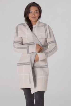 Barefoot Dreams Windowpane Drape Cardigan