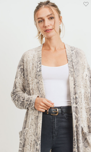 Brushed Snake Cardigan